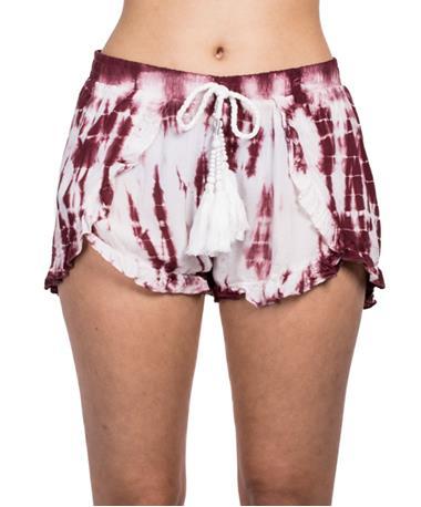 Tie Dye Chunky Tassel Surplice Shorts - Front Tan/Maroon