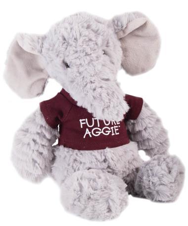 Aggie Elephant Fuzzy Bunch Animal Plush Maroon