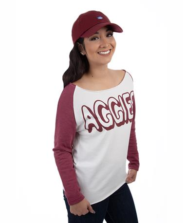 Texas A&M Aggies ZooZatz Offsides Long Sleeve - Angle WHITE/MAROON
