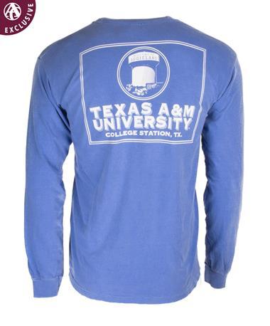 Texas A&M Welcome To Aggieland Long Sleeve T-Shirt - Back Flo Blue