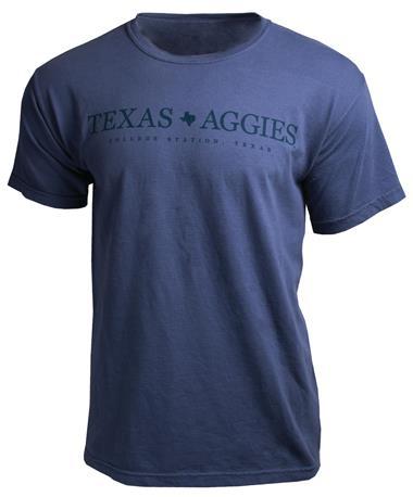 Basic Texas Aggies T-Shirt - Front Storm Blue