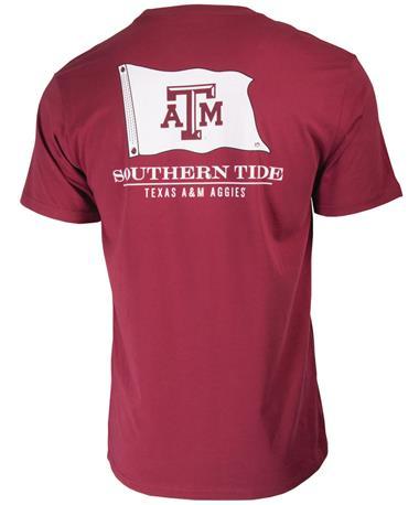 Southern Tide Texas A&M Nautical Flag T-Shirt - Back CHIANTI