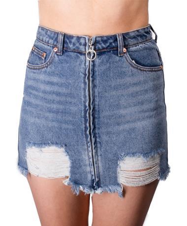 Woven Distressed Denim Mini Skirt Front MEDIUM BLUE