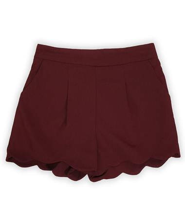 Maroon Pleated Scalloped Hem Mini Shorts-Front MAROON