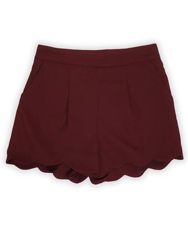 Maroon Pleated Scalloped Hem Mini Shorts