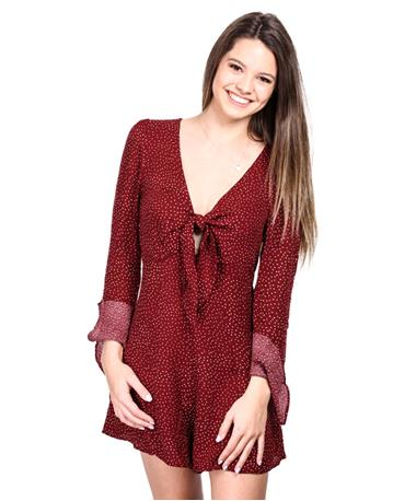 Womens Long Sleeve Burgundy Front Tie Romper - Front BURGUNDY