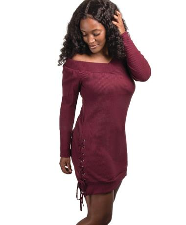 Doe Rae Burgundy Side Lace Up Dress - Side BURGUNDY