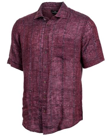 Rodd & Gunn Saddleback Short Sleeve Button Down Shirt Front MAROON