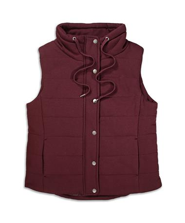 Maroon French Terry Mock Neck Vest - Front BURGUNDY