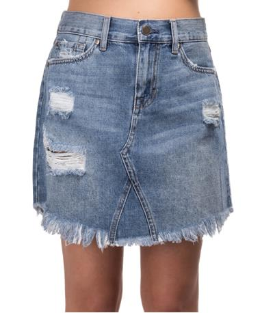 Frayed Hem Mini Skirt DENIM