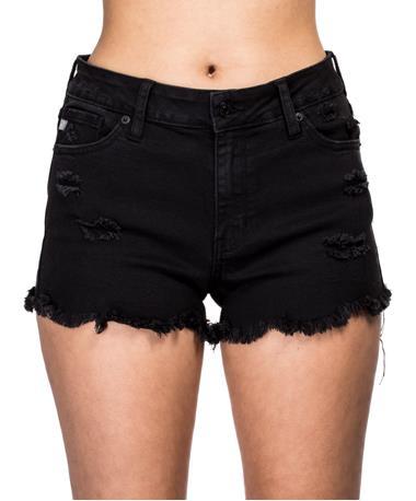 Uneven Fray Hem Shorts - Front BLACK