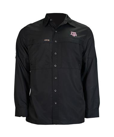 GameGuard Texas A&M Men`s MicroFiber Long Sleeve Shirt - Caviar - Front Caviar