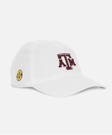 Adidas Texas A&M Beveled SEC Slouch Cap Front Left White Full