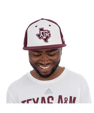 Texas A&M Adidas Lone Star Baseball On Field Fitted Cap - Main Image Maroon/White
