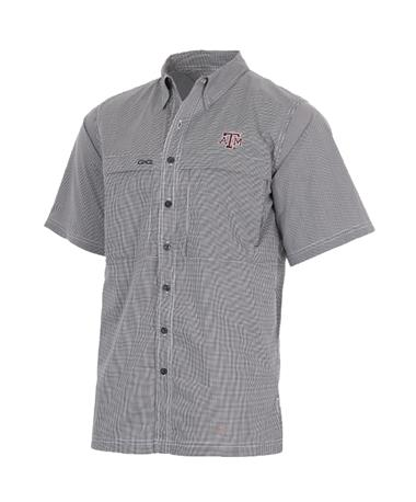 Texas A&M GameGuard MicroCheck Men`s Button Down Shirt - Caviar Caviar