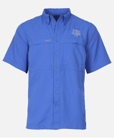 GameGuard Texas A&M Microfiber Short Sleeve Button Down Shirt Pacific Blue