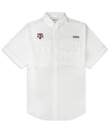 Texas A&M Columbia Tamiami Short Sleeve White Fishing Shirt - Front White