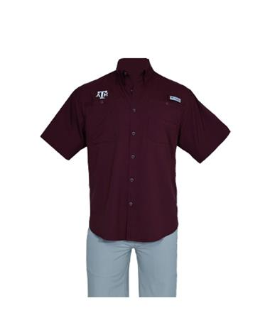 Columbia Texas A&M Tamiami Short Sleeve Button Down Shirt - Front Maroon