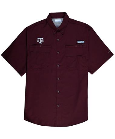 Columbia Texas A&M Tamiami Short Sleeve Button Down Shirt - Maroon - Laid Flat Maroon