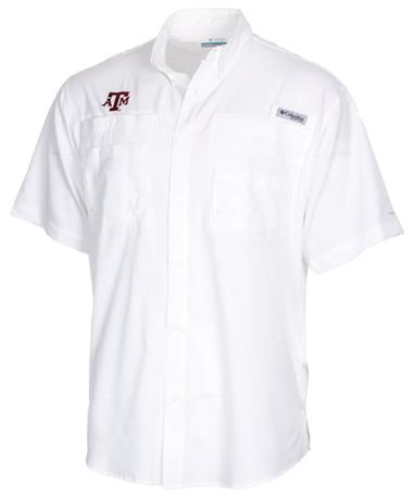Columbia Texas A&M Tamiami Short Sleeve Button Down Shirt Front White