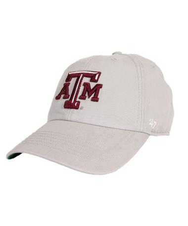 `47 Brand Texas A&M Beveled Franchise Cap Grey Front Grey