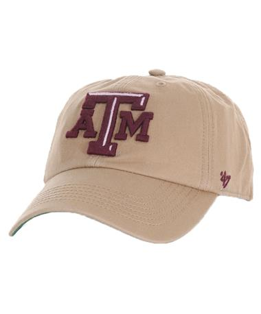 `47 Brand Texas A&M Beveled Franchise Cap Front Khaki