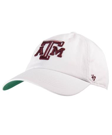 `47 Brand Texas A&M Beveled Franchise Cap-Front White