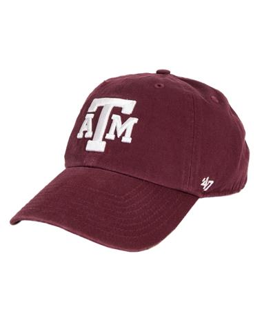 `47 Brand Texas A&M Block Clean Up Cap Front Maroon