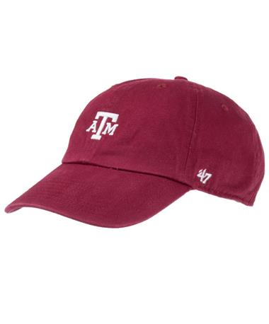 `47 Brand Texas A&M Aggie Centerfield Clean Up Cap Cardinal Front Cardinal