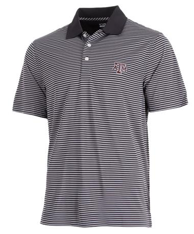 Cutter & Buck Texas A&M DryTec Trevor Stripe Polo Front Black_Oxide