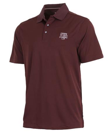 Cutter & Buck Texas A&M Mens DryTec Polo Front Bordeaux