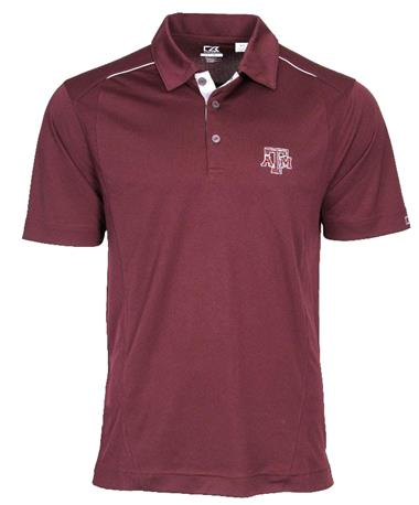 Cutter & Buck Texas A&M Drytec Foss Hybrid Polo Maroon Bordeaux