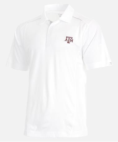 Cutter & Buck Texas A&M Drytec Foss Hybrid Polo Front White
