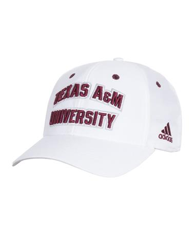 d8dc32da286 Adidas Texas A M White Structured Adjustable Cap Front White