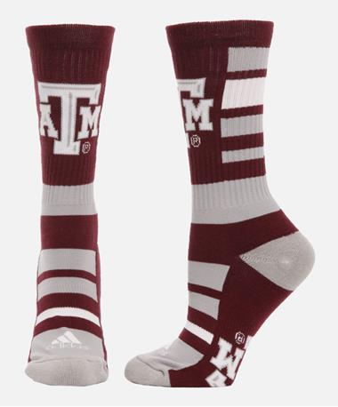 Adidas Texas A&M Thick Striped Crew Socks Maroon/Blk/Wht