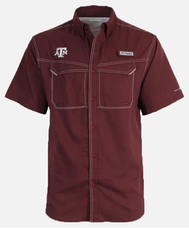 Columbia Texas A&M Low Drag Offshore Button Down Shirt Front Maroon