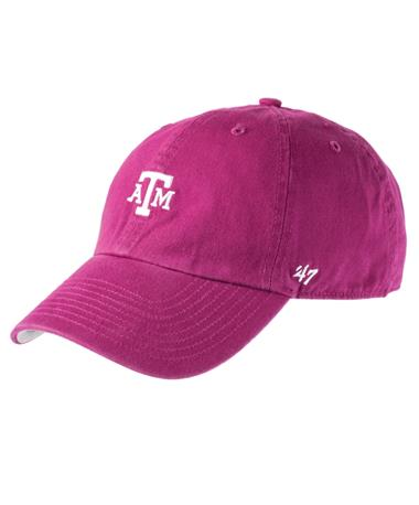 `47 Brand Texas A&M Block Base Runner Cap - Orchid - Front Orchid