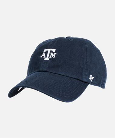 `47 Brand Texas A&M Aggie Centerfield Clean Up Cap Navy Front Navy