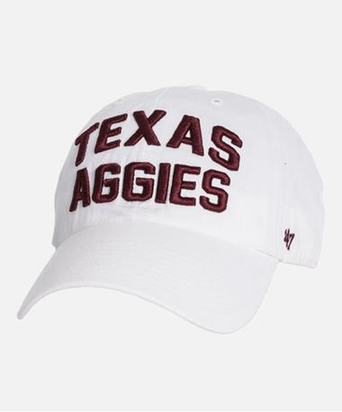 `47 Brand TEXAS AGGIES Clean Up Cap White Front White