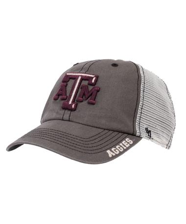 `47 Brand Texas A&M Frontier Clean Up Cap Front Charcoal