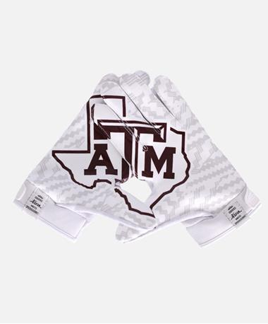 Adidas Texas A&M Adult Receiver Gloves Maroon/White
