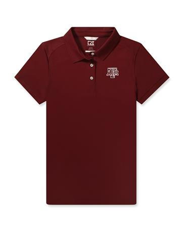 Texas A&M Cutter & Buck Ladies Advantage Polo - Maroon - Front Bordeaux