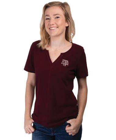 Cutter & Buck Texas A&M Rally Split Neck Top Bordeaux
