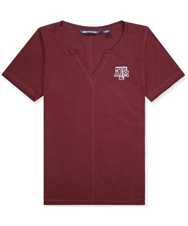 Texas A&M Cutter & Buck Rally Split Neck Top - Front Bordeaux