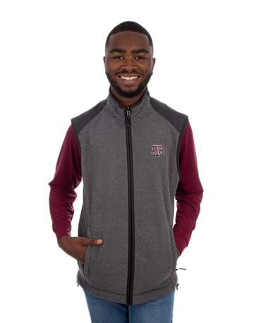 Texas A&M Cutter & Buck Cedar Park Full Zip Vest - Model - Front Charcoal