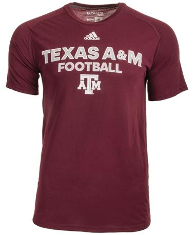 Texas A&M Adidas Short Sleeve Sideline Football Tee - Front Maroon