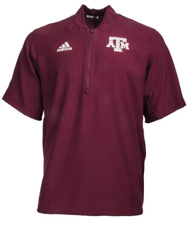 Adidas Texas A&M Coaches Quarter Zip - Maroon - Front Maroon