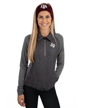 Adidas Texas A&M Vertical Heather Half Zip - Front Grey
