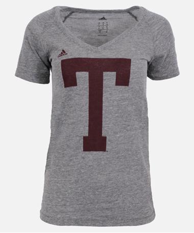 Texas A&M Adidas Womens Block T Tri Blend T-Shirt Grey