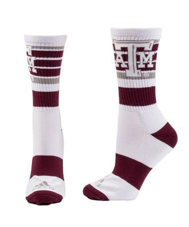 Adidas Texas A&M Aggie Crew Socks White_Maroon